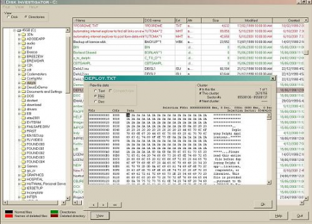 The complex, yet very useful interface of Disk Investigator.