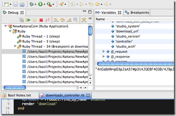 Code debugging in Aptana RadRails
