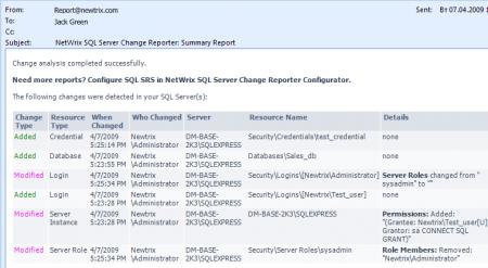 SQL Server Change Reporter