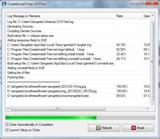 CreateInstall FREE - Installer Creation in Progress