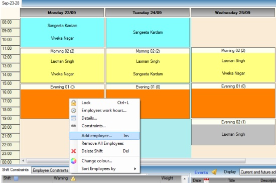 ABC Roster - Free Employee Scheduling Software - Creating Schedule