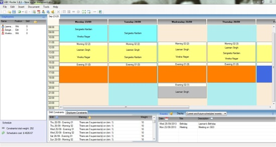 ABC Roster - Free Employee Scheduling Software - Weekly Schedule