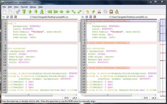 Diffuse Merge Tool - File Comparison