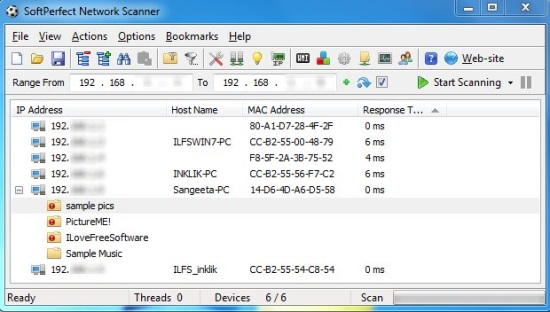 Network Scanner - Interface
