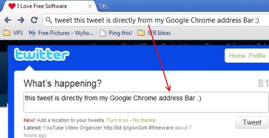 Tweet Chrome address bar