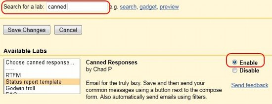 Canned response gmail