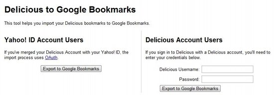 Delicious google bookmarks