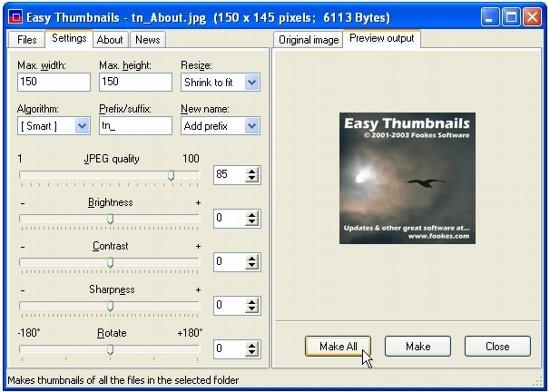 East Thumbnails Settings