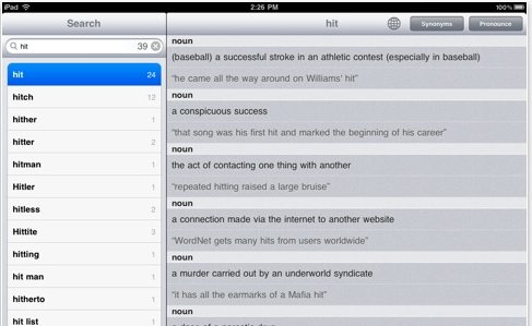 Dictionary for ipad