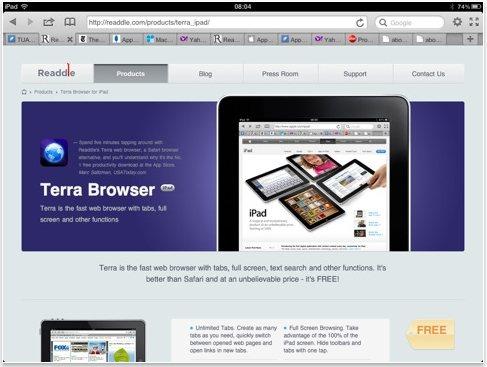 Terra Web Browser ipad