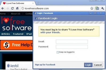 facebook share chrome
