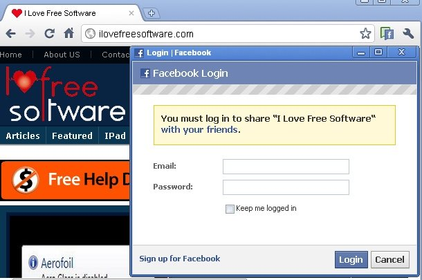 facebook share chrome