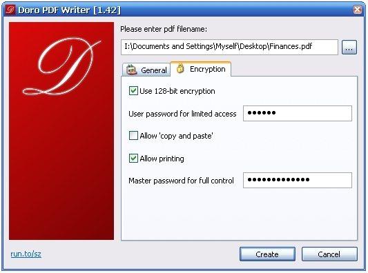 Doro PDF Writer Encryption