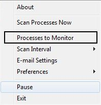 select process to monitor PN