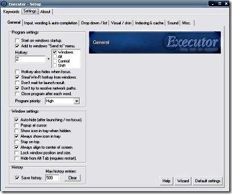 executor settings