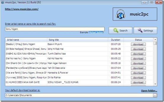 Free Music Downloader: music2pc