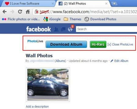 PhotoLive download button on Facebook