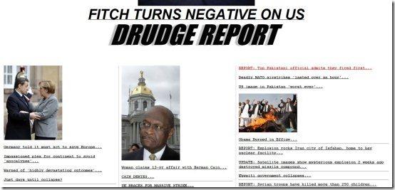 News aggregators Drudge Report