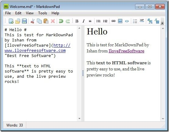 Free Text to HTML Converter: MarkDownPad