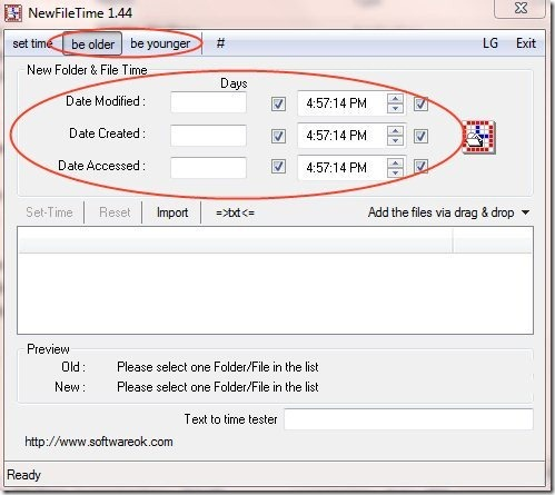 New File Time options