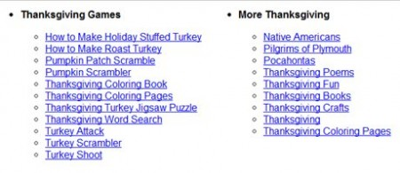 Thanksgiving Games Surf the Net