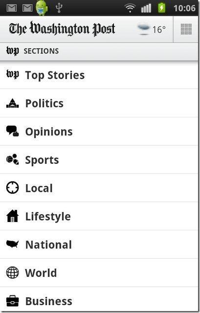 Washington Post categories