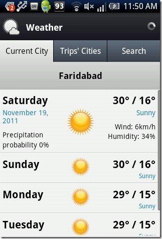 WorldMate Weather