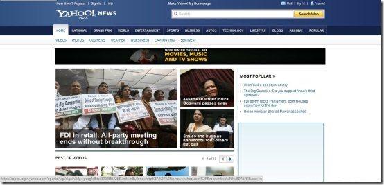 News aggregators Yahoo