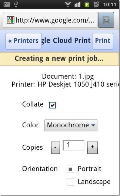 Creating a print job