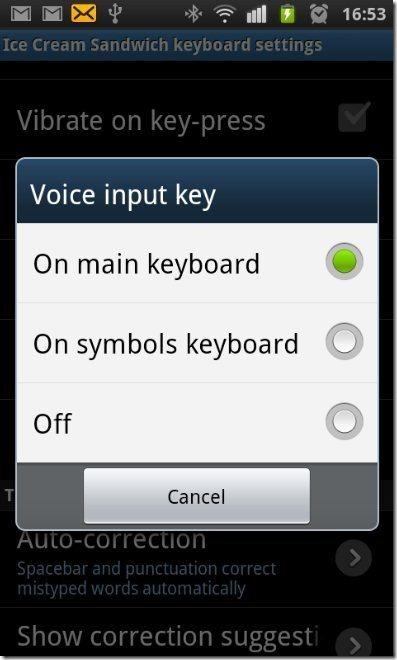 Ice Cream Sandwich Keyboard options