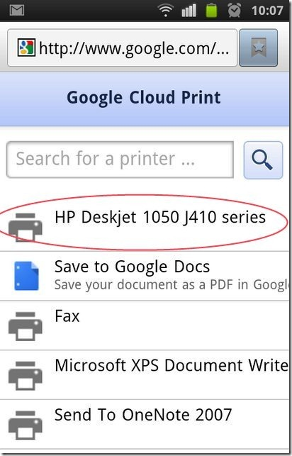 Printer list in Google Cloud Print