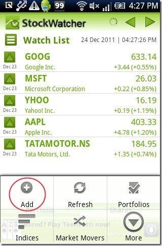 Stock Watcher Watchlist
