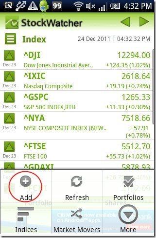 Stock Watcher index list