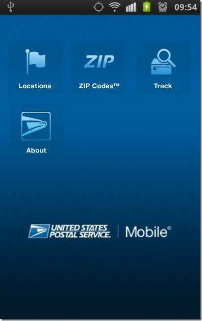 USPS Mobile App Home PAge
