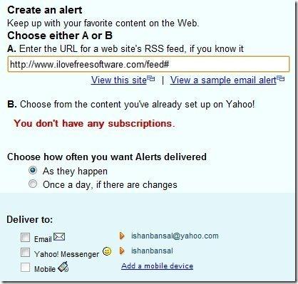 Yahoo Alerts