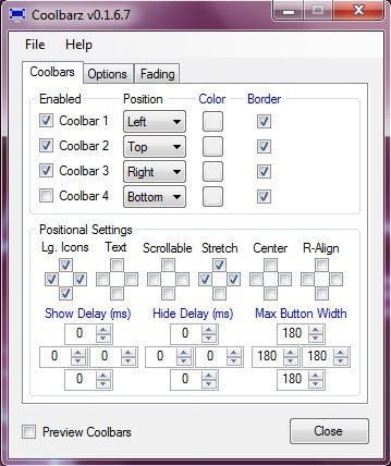 coolbarz options