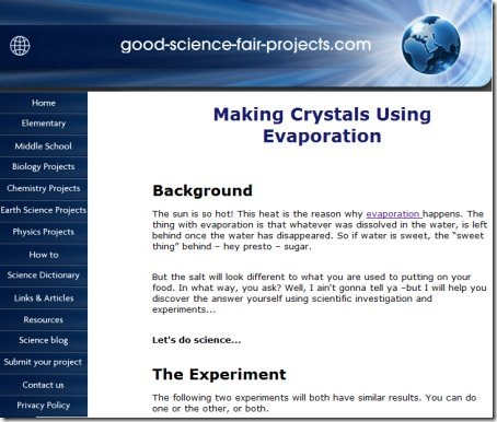 Experiments websites science Science for