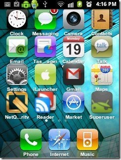 iLauncher Lite interface