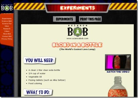 Science Experiments For Children sciencebob