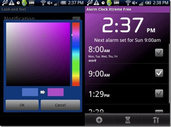 Android Alarm Clock Color Theme