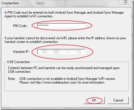 Android Sync Manager Details Window