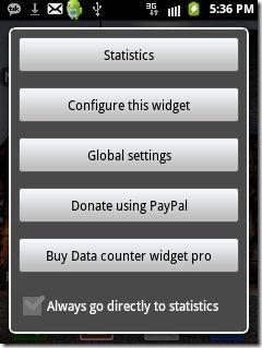 Data Counter Widget app options
