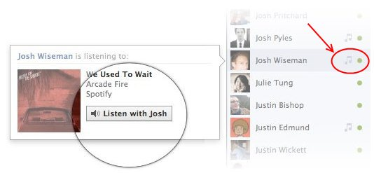 Facebook music listen together