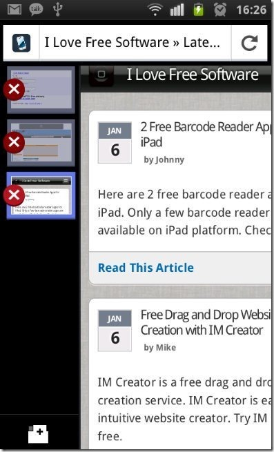Firefox on Android Tab option