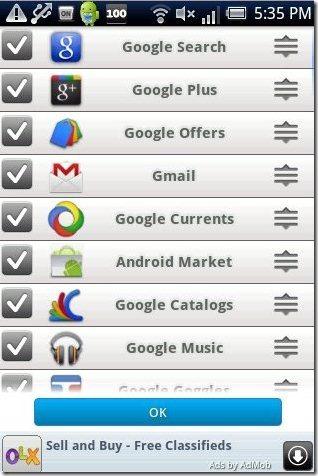 Google Shortcuts Settings