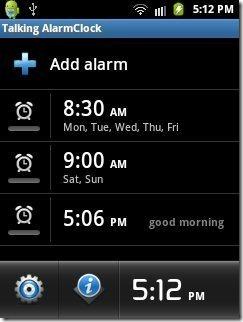 Talking Alarm Clock App Alarm options