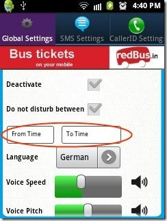 Talking SMS Time Settings