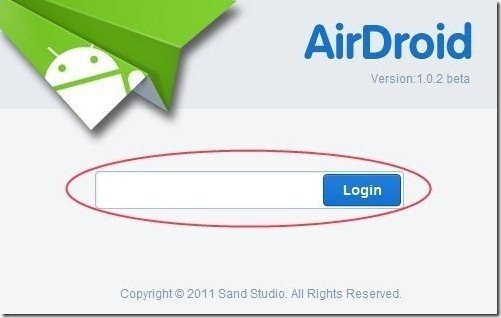 AirDroid Login Page