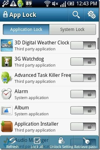 App Lock interface