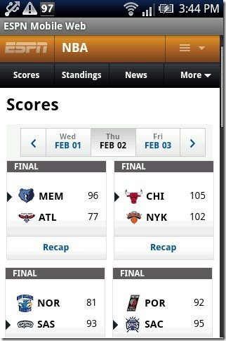 ESPN Scoreboard